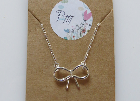 Bow Knot Necklace Silver