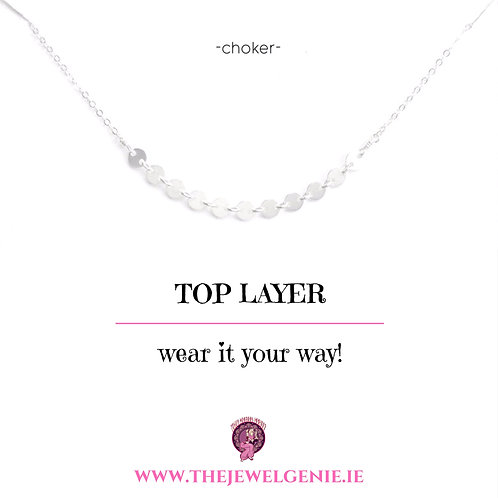 Top Layer Disc Choker Necklace- Silver