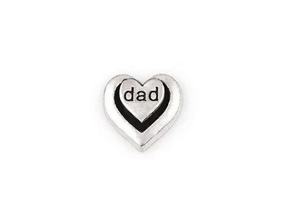 Dad Double Heart Charm- Silver