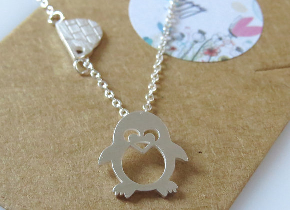 Penguin & Igloo Necklace Silver