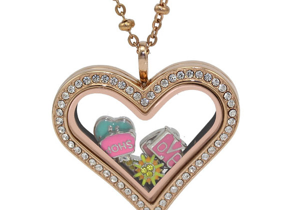 Rose Gold Heart Shaped Crystal Locket