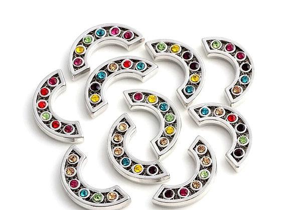 Multi-colour Rhinestone Semi Circle Plate
