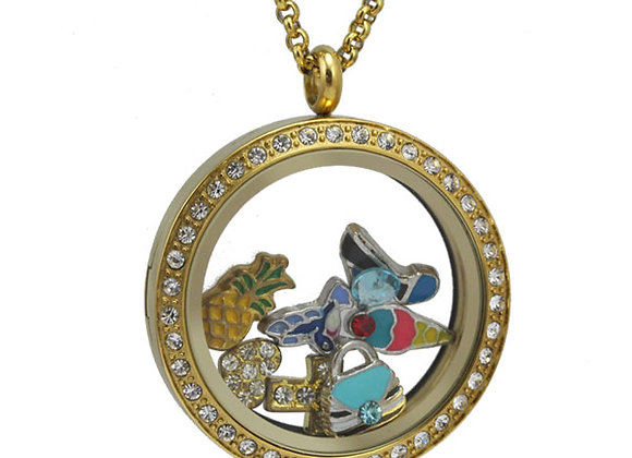 Large Gold Crystal Locket with Matted Face