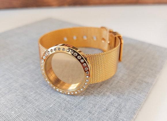 30mm Crystal Locket  Bracelet with Mesh Strap in Gold
