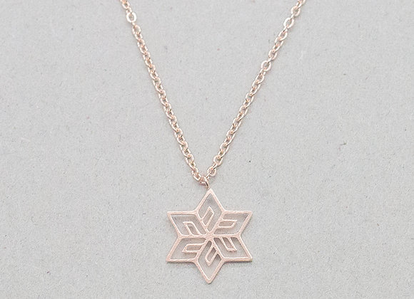 Snowflake Pendant Necklace Rose Gold