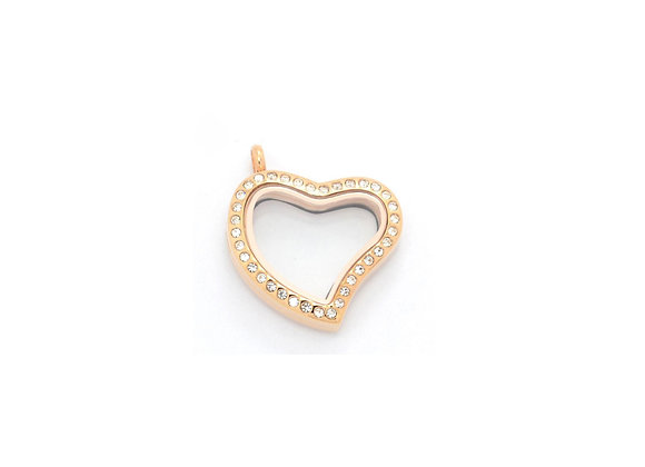 Rose Gold Curved Heart Crystal Locket