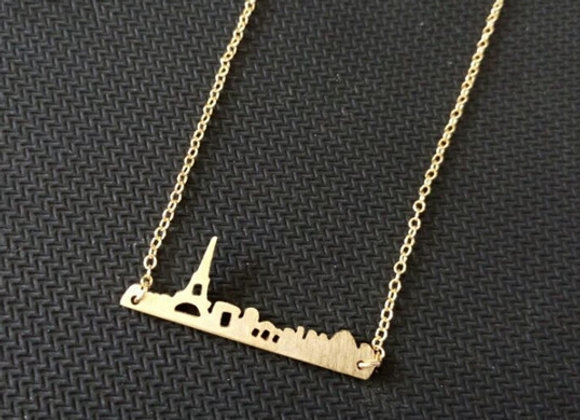 Paris Skyline Necklace Gold