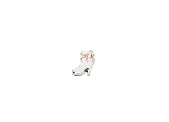 White Heeled Shoe Boot with Pink Bow