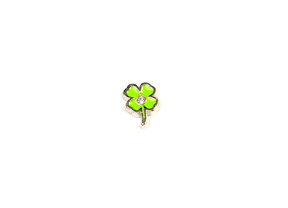Green Four Leaf Clover with Rhinestone