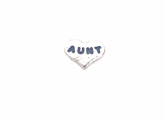 Silver Aunt Heart Charm