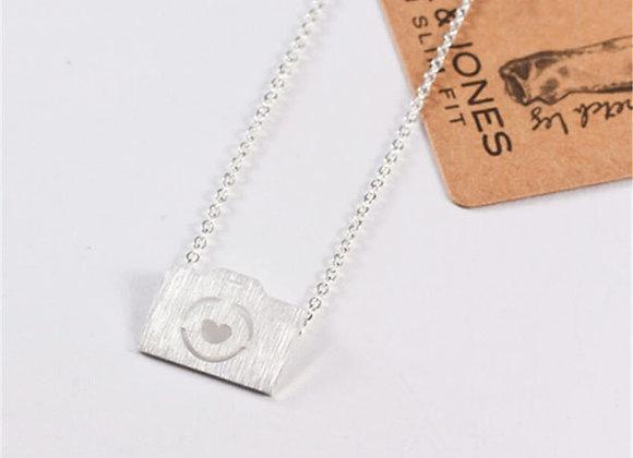Camera Pendant Necklace Silver