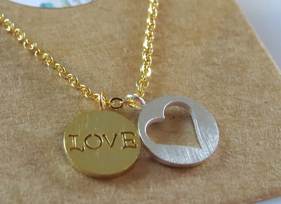 Love Heart Necklace Gold