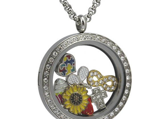 Large Silver Crystal Locket with Matted Face