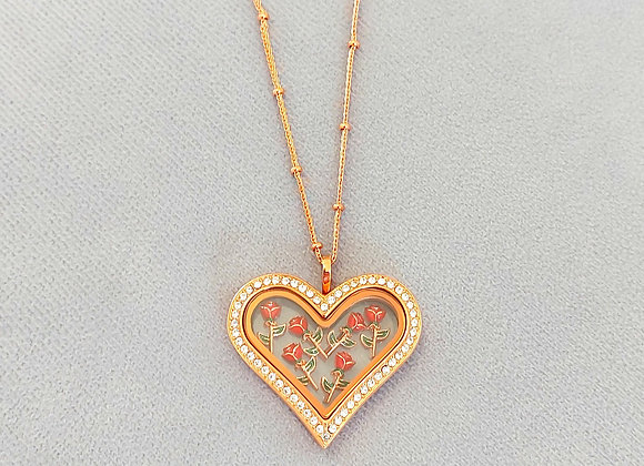 'Be Mine' Rose Gold Heart with 6 Red Roses