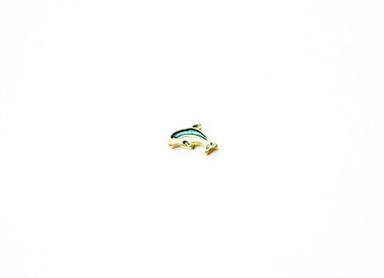 Gold & Blue Dolphin Charm