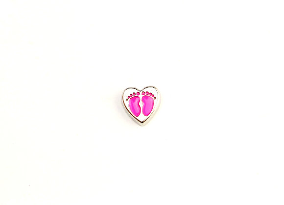Baby Footprint Heart Charm in Pink