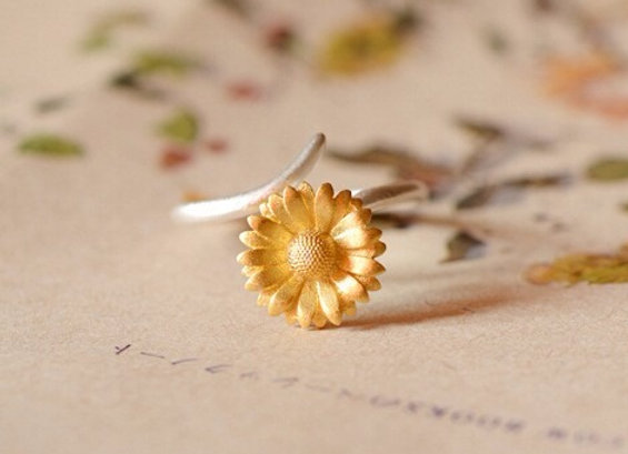 Silver & Gold Sunflower Ring (One Size)