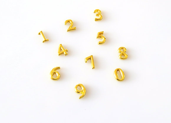 Gold Number Charm 0-9