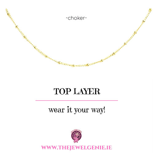 Top Layer Beaded Choker Necklace- Gold