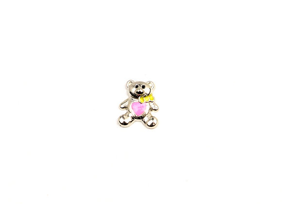 Teddy Bear Silver with Pink Heart