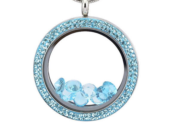 Large Double Crystal Locket in Aquamarine Blue