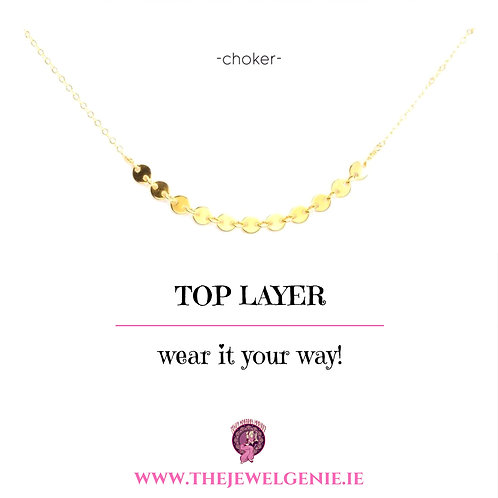 Top Layer Disc Choker Necklace- Gold