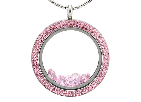 Large Double Crystal Locket in Pink