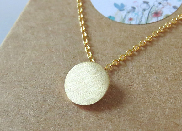 Round Plate Necklace Gold