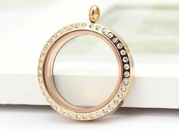 Large Rose Gold Magnetic Crystal Locket