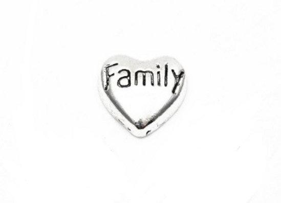 Family Heart Charm- Silver