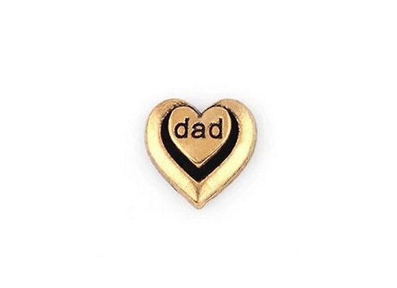 Dad Double Heart Charm- Gold