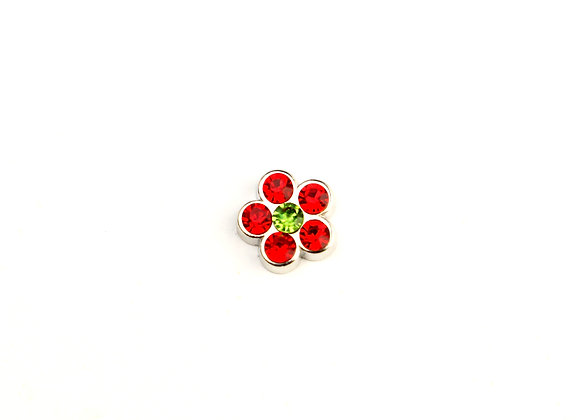 Red Rhinestone Flower Charm