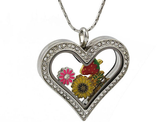 Silver Heart Shaped Crystal Locket