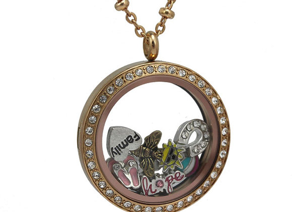 Large Rose Gold Crystal Locket with Matted Face