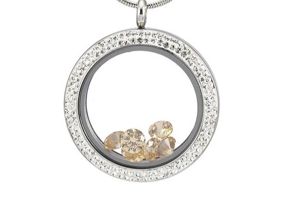 Large Double Crystal Locket in White