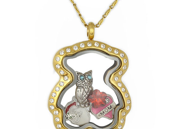 Gold Teddy Bear Crystal Locket
