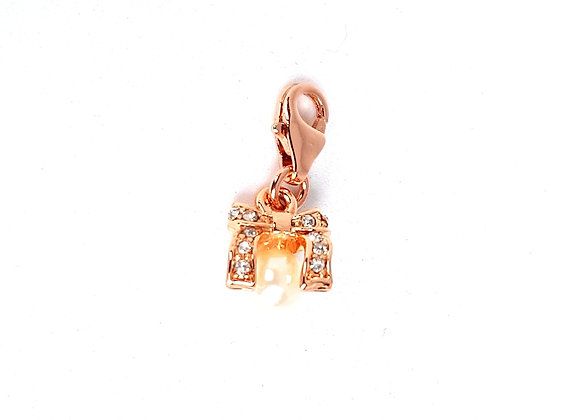 Rose Gold Crystal Bow with Pearl Dangle Charm