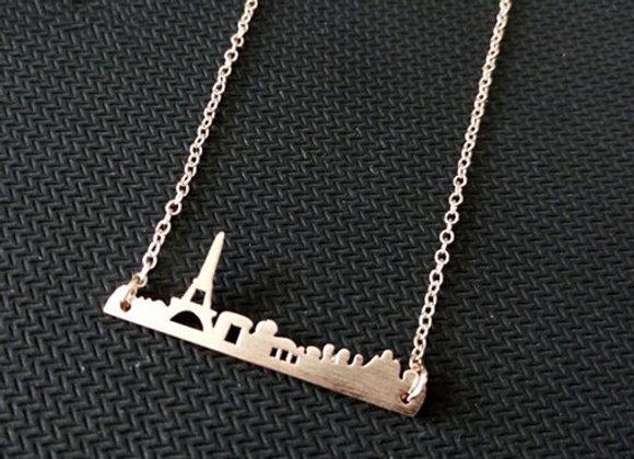 Paris Skyline Necklace Rose Gold