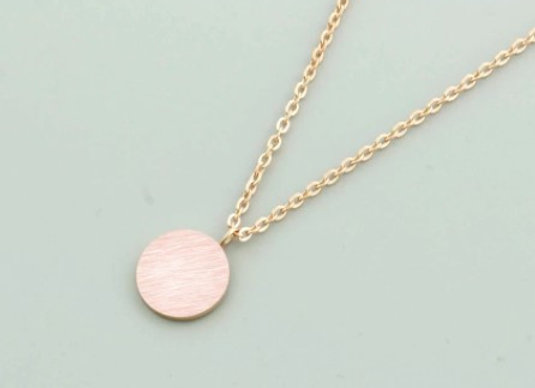 Round Plate Necklace Rose Gold