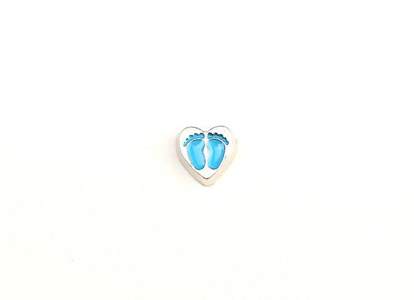 Baby Footprint Heart Charm in Blue