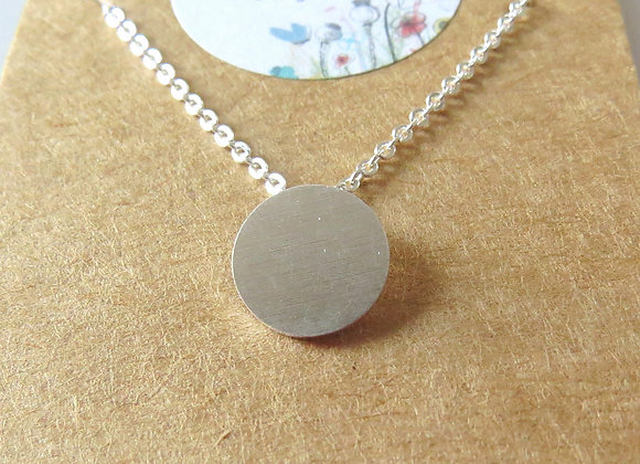 Round Plate Necklace Silver
