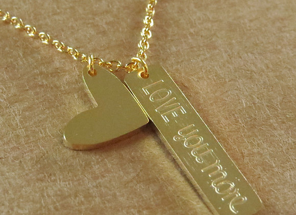Love You More Necklace Gold