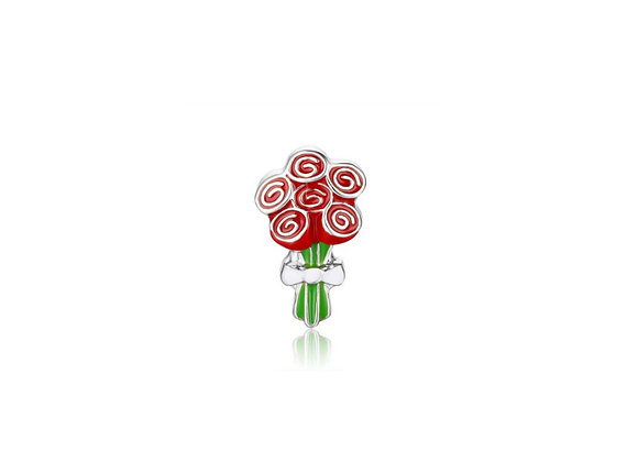 3D Bunch of 6 Red Roses Charm