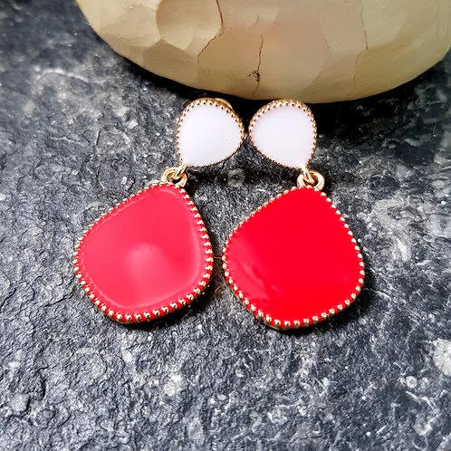 Pippa Earrings Red/White