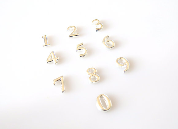 Silver Number Charm 0-9