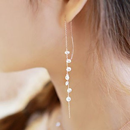 Sterling Silver Crystal Drop Earring (gold)