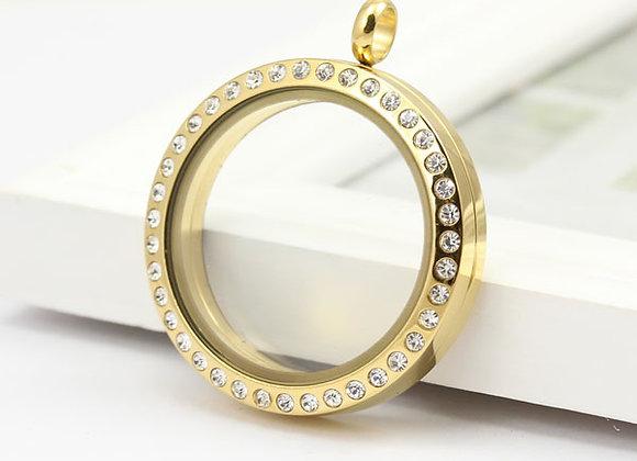 Large Gold Crystal Locket