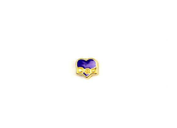 Dad Heart Charm- Purple & Gold