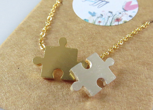 Jigsaw Necklace Gold