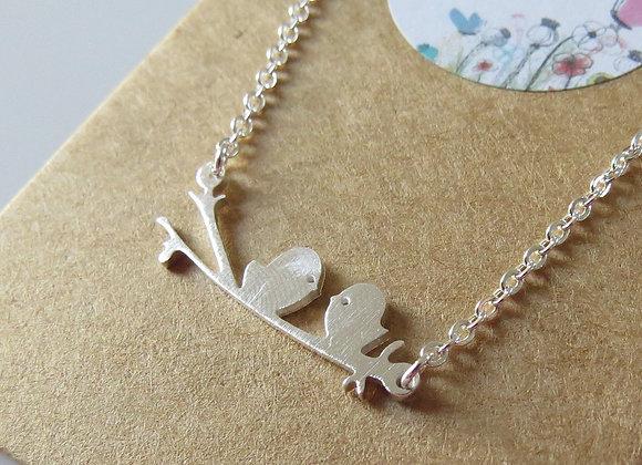 Love Birds Necklace Silver